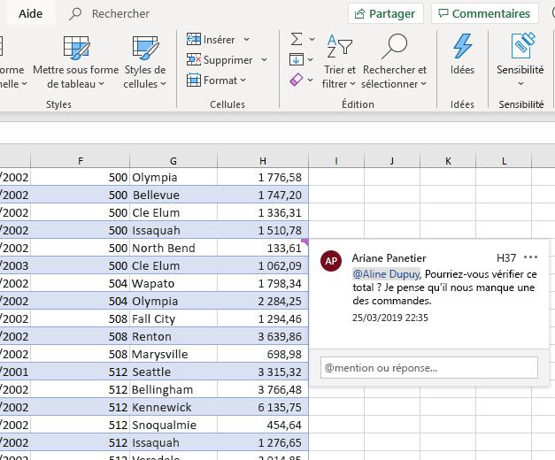 Capture d'écran de la création d'un commentaire dans Excel