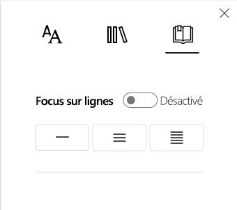 Menu des options Focus sur lignes dans la partie Lecteur immersif des Outils d'apprentissage pour OneNote.