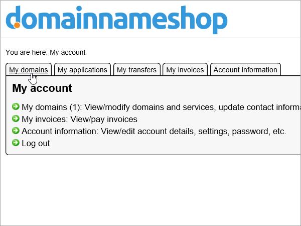 Onglet Mes domaines sélectionné dans Domainnameshop