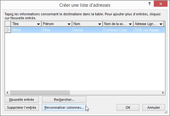 Pour ajouter des colonnes personnalisées à votre liste de diffusion, cliquez sur le bouton Personnaliser les colonnes.