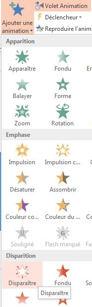 Dans l'onglet ANIMATIONS, dans le groupe Animation avancée, cliquez sur Ajouter une animation. Vous disposez d'un large éventail d'options d'animation.