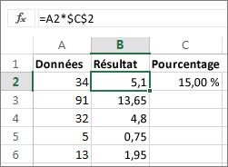 Multiplier des nombres par un pourcentage