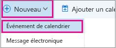 Nouvelle option d'événement de calendrier dans l'en-tête de calendrier