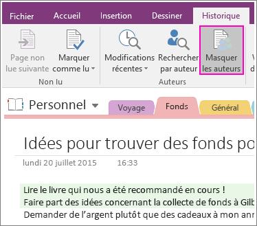 Capture d'écran du bouton Masquer les auteurs dans OneNote2016.
