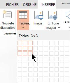 Dans l'onglet Insertion, sélectionnez Tableau.