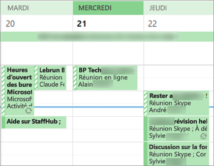 Quoi votre calendrier ressemble à un utilisateur lorsque vous le partagez avec détails limités.
