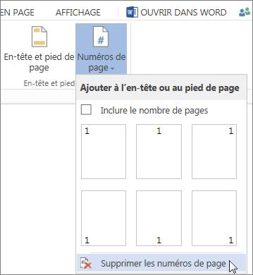 Image de l'option Supprimer les numéros de page sélectionnée dans la Galerie de numéros de page