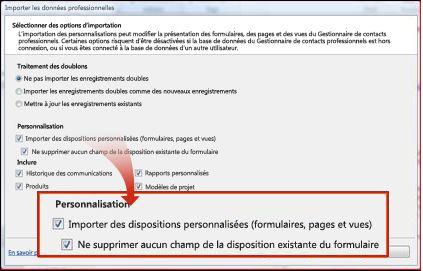 Section Importer la personnalisation de la fenêtre Importer