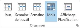 Groupe Organiser sous l'onglet Accueil: Jour, Semaine, Semaine de travail, Mois et Planification