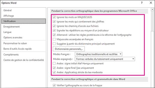 Options de correction orthographique globales dans Office
