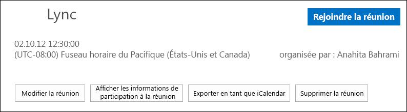 Capture de la zone Réunion avec l'option d'exportation en tant que iCalendar