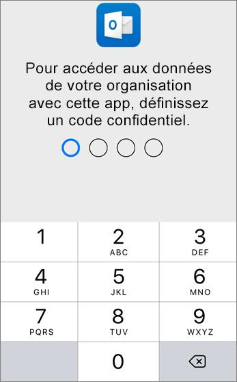 Pour accéder aux données de votre organisation, définissez un code confidentiel.