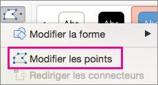 Bouton Modifier les points dans le menu Modifier la forme