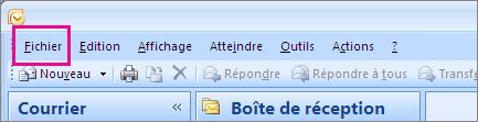 Dans Outlook2007, sélectionnez l'onglet fichier.