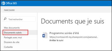 Capture d'écran des documents OneDrive Entreprise que vous suivez dans Office365.