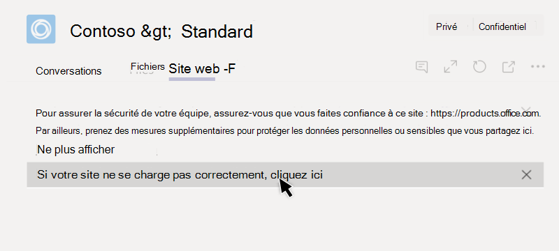 Échoué de chargement d'un onglet de site Web
