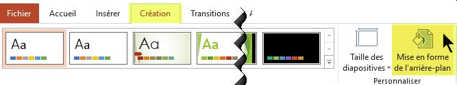 Le bouton Mise en forme de l'arrière-plan est situé dans l'onglet Création du ruban dans PowerPoint