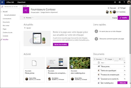 Le site d'équipe qui s'affiche après que vous avez connecté un nouveau groupe Office 365 et inclut des liens vers votre ancien site d'équipe.
