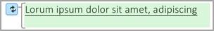 Un texte en surbrillance verte indique une modification.