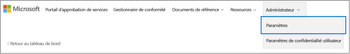 Menu d'administration STP - Paramètres sélectionnés