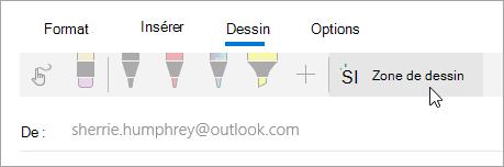 Capture d'écran du bouton zone de dessin