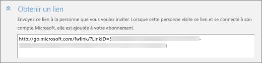Capture d'écran en gros plan de la section «Obtenir un lien» de la boîte de dialogue «Ajouter une personne».