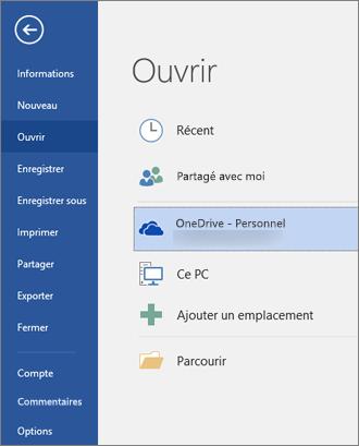 Options disponibles sur l'onglet Fichier