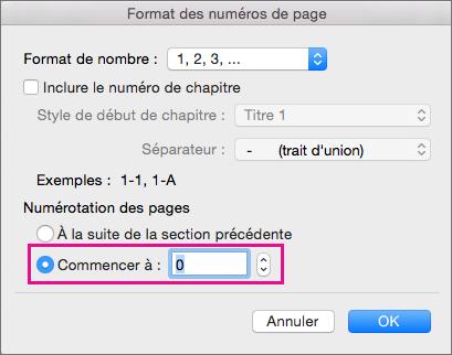 Pour définir le numéro de la première page, sélectionnez Commencer à et entrez un nombre.