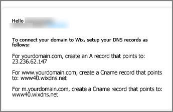 Dans Wix.com, utilisez ces paramètres d'enregistrement DNS