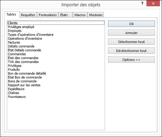 Sélectionner les objets à importer dans la boîte de dialogue Importer des objets