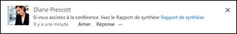 Billet de flux d'actualités avec un lien vers un document SharePoint