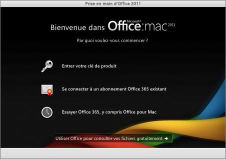 Capture de la page d'accueil pour Office pour Mac2011