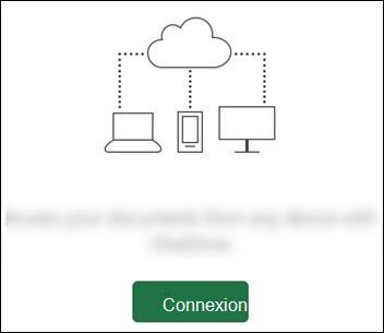 Différents appareils connectés à un cloud. Un bouton Se connectez en bas.