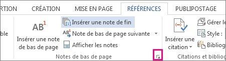 Ouvrir la zone de personnalisation des notes de bas de page et de fin