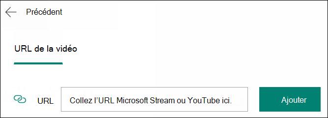 Ajouter une vidéo à une question de formulaire par URL