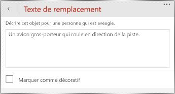 Boîte de dialogue texte de remplacement pour les images dans PowerPoint pour Windows Phone.