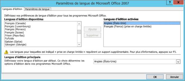 Paramètres linguistiques d'Office2007