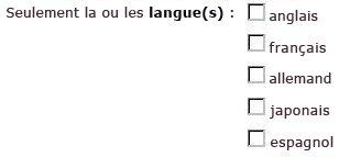 Cases à cocher pour les langues anglaise, française, allemande, japonaise et espagnole