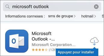 Appuyez sur l'icône de nuage pour installer Outlook.
