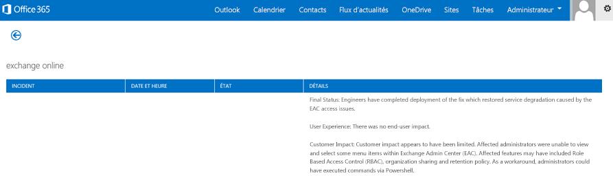 Image du tableau de bord d'état du service Office365 indiquant que le service Exchange Online a été restauré et pourquoi