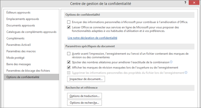 Options de confidentialité dans le Centre de gestion de la confidentialité d'Office