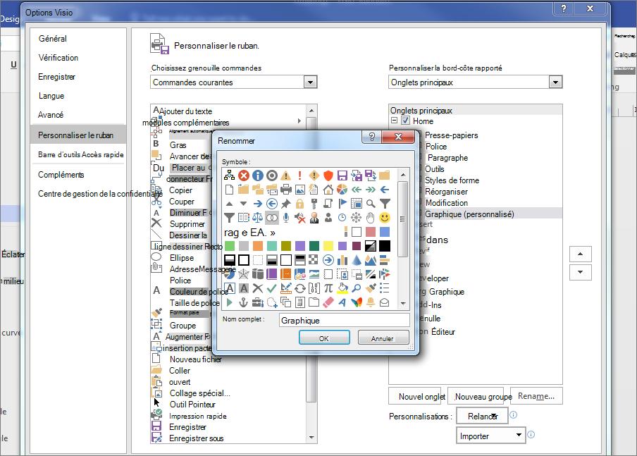 Cliquez sur l'icône Venn et tapez graphique dans le champ nom d'affichage, puis cliquez sur OK.