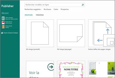 Capture d'écran de modèles dans l'écran d'accueil de Publisher.