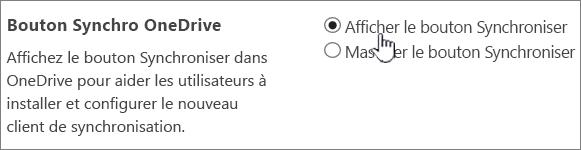 Paramètres d'administration du bouton Synchroniser de OneDrive