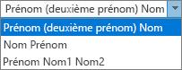 Options Outlook pour les personnes, montrant les options de la liste de commandes de nom complet.