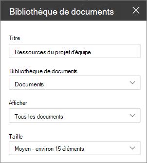 Paramètres du composant WebPart Bibliothèque documents