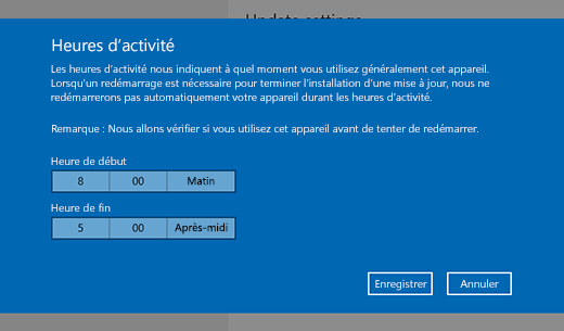 Capture d'écran de la fenêtre de dialogue de modification des heures d'activité