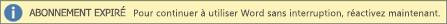 Exemple de la bannière L'abonnement a expiré contenant le bouton Réactiver