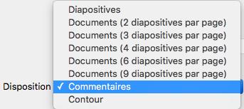 Dans la boîte de dialogue Imprimer, sélectionnez la disposition Notes