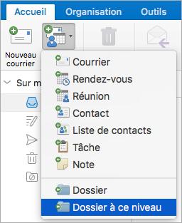 Affiche la sélection de dossier au même niveau dans la liste de nouveaux éléments.